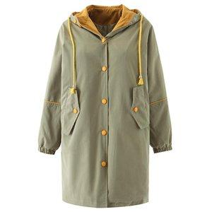 Women's Trench Coats OMIKRON 2021 Fashion Autumn Women Harajuku Long Hooded Coat Casaco Feminino Abrigo Mujer Femme Outerwear