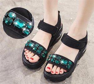 Женская платформа Sandles Толстые слипсольные хрустальные инкрустации мода досуга летняя обувь