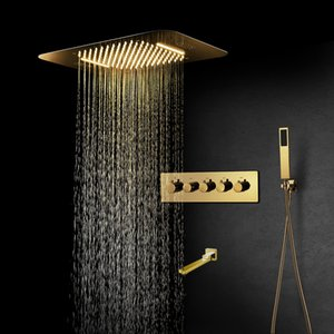 Luxurious Gold Shower Systems Set for Bath Mixer Bathroom Faucet Rain ShowerHeads Music LED Panel Thermostatic Valve Tap