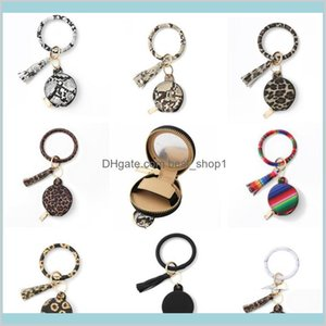 Bracelet Keychain Earbuds Bags With Makeup Mirror Pu Leather Wristlet Key Ring Holder Bangle Earphone Tassel Mini Coin Purse 9 Designs Xpyzr