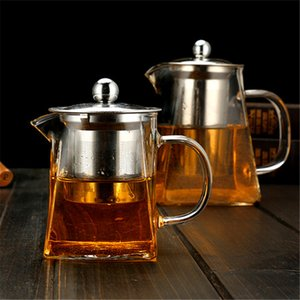 Tetera de vidrio transparente de borosilicato con acero inoxidable Colador de té de té de té de vidrio elegante transparente Tetera 304 S2