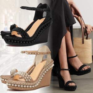 Luxury Ladies Red Bottom Sandals Cataclou Wedge Heels Women Platform & Wedges Sandalias Cordorella Lata Ankle Strap Studs Lady Gladiator Party,Dress Footwear