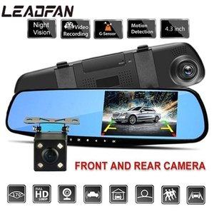 Leadfan 4.3 pulgadas 1080p HD 170 grados Registrador de conducción Cámara DVR cámara Retrovisor Dash Cam Cam con DVR de la espalda