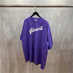 Vetements 21ss Purple Letter Logo Men And Women Lovers Loose Large Short Sleeve Vetements T-Shirt Purple