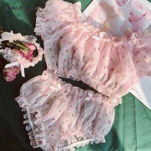 Girl Chiffon Lovely Pure White Underwear Lingerie Set Clothes 2019 Autumn Pajamas for Women