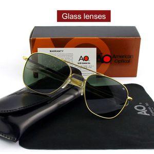 Pilot AO Sun Glasses Men Brand Designer American Army Military Glass Lens Male Sunglasses OP55 OP57 Top quality