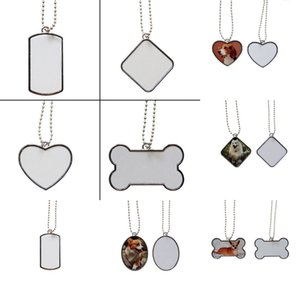 Blank Sublimation Stainless Steel Dog Tag With Chain Necklace Heat Thermal Transfer DIY Printing Pet ID Card Smooth Metal Pendant GGA4201