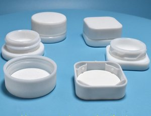 small white glass jar bottle round and square with childresistant cap 5g 7g 9g cosmetic cream wax concentrate packaging storage container