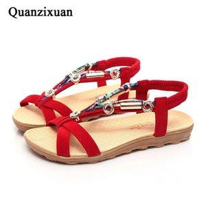 Quanzixuan Frauen Sandalen flache Sommerschuhe Strand Knöchelband plus Größe 40 41 42