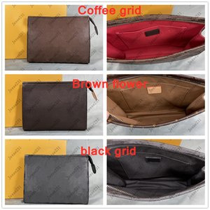 Sacchetti da toilette da viaggio di alta qualità Sacchetto di trucco di protezione 26 cm Borse per il trucco della frizione Le donne impermeabili in pelle per gli uomini con il sacchetto della polvere