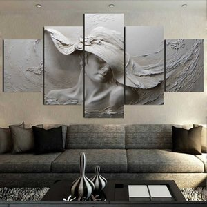 Modern 3D three-dimensional relief canvas painting gray woman oil painting modern abstract art wall poster living room bedroom C0927