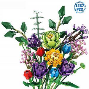 Creator Ideas Flowers Bouquet Building Blocks Moc Romantic Rose Flower Bricks Home Decoration DIY Toys for Girl Birthday Gift Q0624