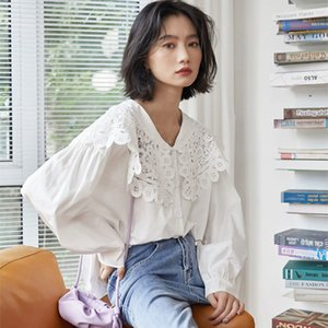 Women's Blouses & Shirts Arrival Spring Korea Fashion Preppy Style Women Long Sleeve Loose White Lace Peter Pan Collar Cute Sweet