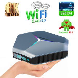 A95X F4 Android 10.0 TV Box Amlogic S905X4 Quad Core 2.4G 5G WiFi Bluetooth 8K RGB Light Smart TVBOX