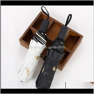 Umbrellas Household Sundries Home & Gardenbronzing Feathers Black Rubber Three Fold Shade Travel Umbrella Drop Delivery 2021 8Bjlw