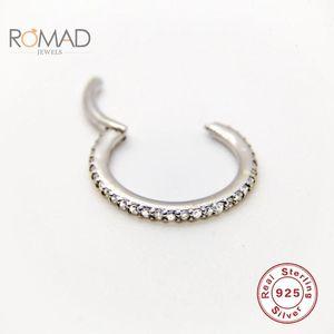 Pendientes de joyería de plata esterlina Hoops Mujere Zircon Anillo de nariz cartílago Pendiente Diamond Pendiente Coreano Pendientes Mujer # P15 Hoop Huggie