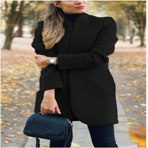 Women's Trench Coats 2021 Style Autumn Winter American Fashion Plain Color Stand Collar Woolen Coat