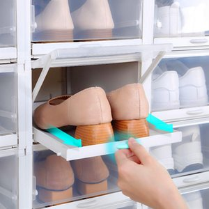 New Drawer Push Pull Shoe Box Sneakers Organizer Storage High Heel Plastic Container Can Rangement Superimposed Household Items C0318