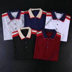 2021 جديد الصيف مصمم الملابس للرجال بولو الكلاسيكية نمط خليط اللون إلكتروني طباعة تي شيرت عارضة رفض طوق شيرت 5 اللون
