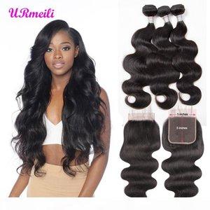Fermeture indienne 5x5 dentelle avec paquets Body Wave Virgin Hair Weave Bundles de cheveux humains avec fermeture en dentelle 100% cheveux humains Tête pleine tête