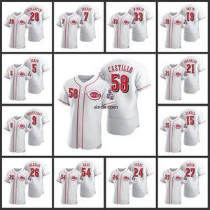 Cincinnati Erkekler Reds Johnny Bench Eugenio Suarez Jesse Winker Joey Voto Luis Castillo Nick Senzel 2020 Otantik Kadın Gençlik Forması