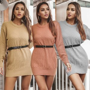 Autumn Winter 2021 Knitted Dress With Belt Pure Color New Style Women Fashion Sexy Slim Fit G1011