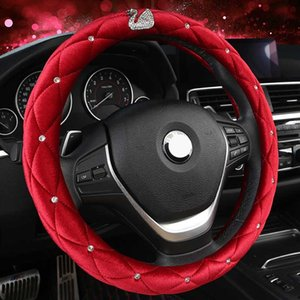 Steering Wheel Cover, Universal 15 in Bling Diamond and Black Leather Car Wheel Protector for Women, Cute Car Accessories Rhinestone Crown Decor Nice Gift,Red 01