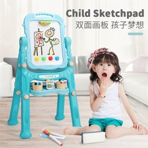 Toys Children's 1set Educational 46x26x75cm Child Sketchpad Baby Writing Graffiti Whiteboard Erasable Easel 360 Degree Flip 201116