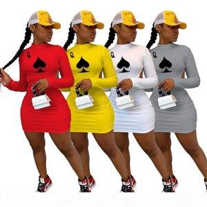 Echoine Women Sexy Black Queen Poker Card Open Back Long Sleeve Midi Dress Bodycon Party Night Club Mini Pencil Dresses Vestidos