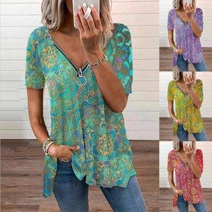 Women's T-Shirt Summer Retro Print V Neck Tshirt Loose Zipper Short Sleeve Female Casual Plus Size Shirt Fashion Tops