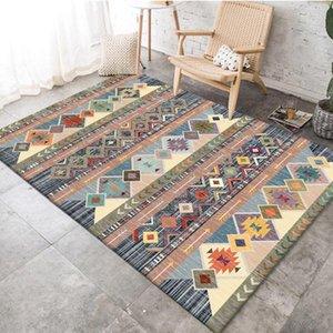 Carpets Retro Ethnic Geometric Pattern Carpet Printed Tapis Soft For Living Room Anti-slip Rug Floor Decor Mat Home