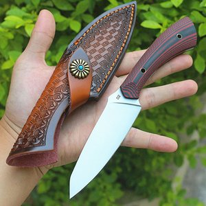 In Stock! Outdoor Survival Straight Hunting Knife D2 Satin Blade Full Tang G10 Handle Fixed Blades Knives With Kydex