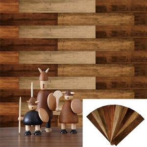 100 Set 10pcs Pack 10X50CM Wood Grain Floor Tile Board Wall Sticker DIY PVC Self-adhesive Kitchen Bathroom Livingroom Home Decal Waterproof
