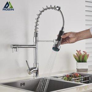 Chrome Spring Кухонный кран вытащить боковой опрыскиватель двойной носик одно рукоятка смеситель крана 360 степени вращения