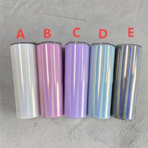Sublimation Tumblers 20oz Skinny Blanks Rainbow Mugs Glitter Double Wall Insulated Tumbler Taperd Vacuum Tea Beer Mug Water Bottles With Sraw