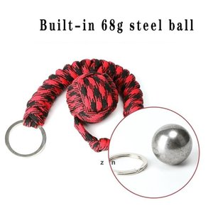 Rope Braided Chain Outdoor Self-defense Weapons Beads Round Self Defense Keychain For Women DHE6842