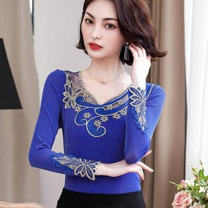 Women's Blouses & Shirts Oversize 4XL Basic Office Lady Embroidery Lace Trim Blouse Long Sleeve Skinny Shinning Pullovers Autumn Casual Wome