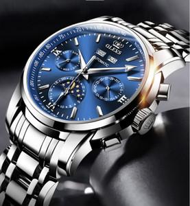 OLEVS Brand Mens Watch Автоматическая синяя солнечная лунная звезда набора водонепроницаемого полых движения со стальной полосой