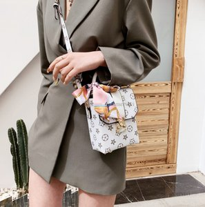 Luxury Girls Silk scarves handbag Designer kids Printed rivet square bags children PU leather one shoulder bag A6711