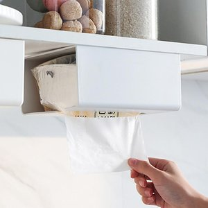 Tissue Boxes & Napkins Kitchen Self-Adhesive Paper Tray Wall-Mounted Towel Rack Simple Toilet Box Roll Holder Shelf