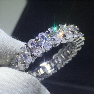 8 styles Lustre Promise Wedding Band Ring 925 Sterling Silver Diamond Engagement rings for women men Jewelry 1 T2