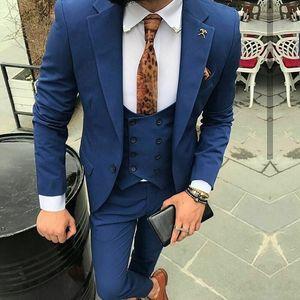 3 шт. Формальный темно-синий синий Fit Tux Tuxedo Groom костюмы для мужчин свадьба пользовательских мужских тонких пиджаков