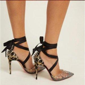 Оптовая обувь Летнее плюс Размер EU45 Стелето-каблук Стелеты 8 см 10 см 12 см Насосы Женские Сандалии Красные дна Высокие каблуки Заостренные пальцы горный хрусталь на шнуровке