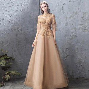 Вечернее платье женское благородный и элегантный золотой стенд воротник темперамент тонкий хост ежегодная вечеринка этническая одежда