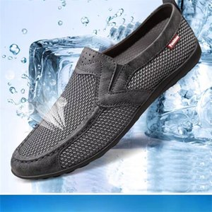 sping Summer net shoes men's casual breathable mesh sports one-foot large size walking old Beijing cloth 36-47