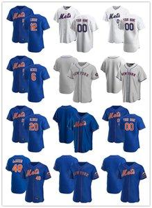 Jersey Personalizzato Mens Donne giovaniNuovoYork.Mets.6 Jeff McNeil 20 Pete Alonso 12 Francisco Lindor 48 Jacob degent maglie da baseball Bianco blu grigio