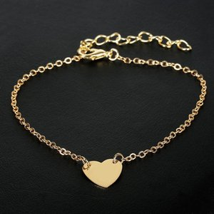 Charm Bracelets Fashion Simple Chain Peach Heart Bracelet Anklet Gold Ladies Stainless Steel Gift Support Wholesale