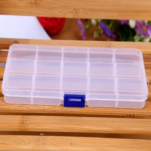 15 Compartment Plastic Clear Storage Box Small Box for Jewelry Earrings Toys Container RRD11097