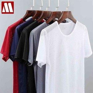 Malla sólida para hombres Vea a través de la camiseta de la red de la camiseta estirable Tshirt transparente sexy manga corta 4xl o cuello 5 colores mydbsh 210329