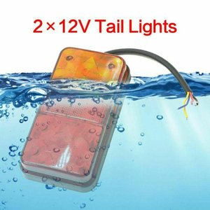 Emergency Lights 2pcs LED Waterproof Tail Kit RV Camper Trailer Truck Rear Turn Signal Lamp Number Plate Light Reverse 12V